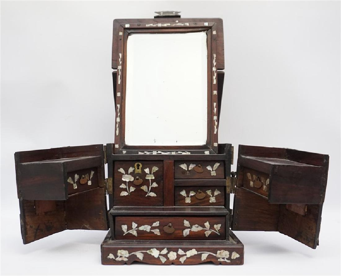ANTIQUE CHINESE ROSEWOOD MIRROR BOX - 2