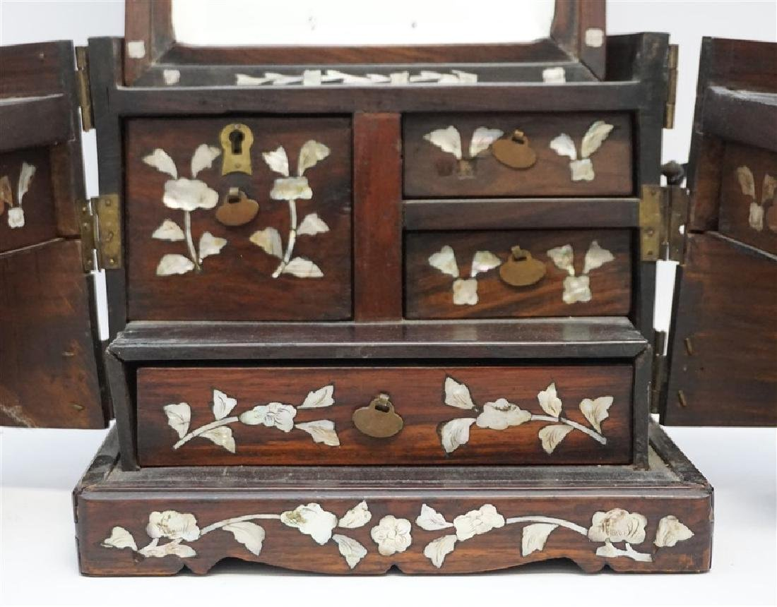 ANTIQUE CHINESE ROSEWOOD MIRROR BOX - 3