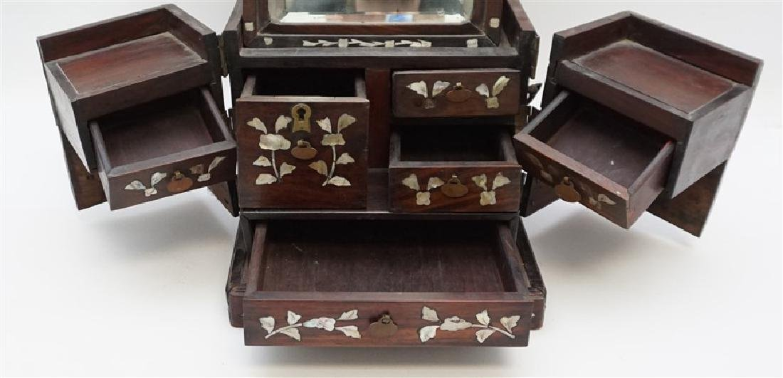 ANTIQUE CHINESE ROSEWOOD MIRROR BOX - 4