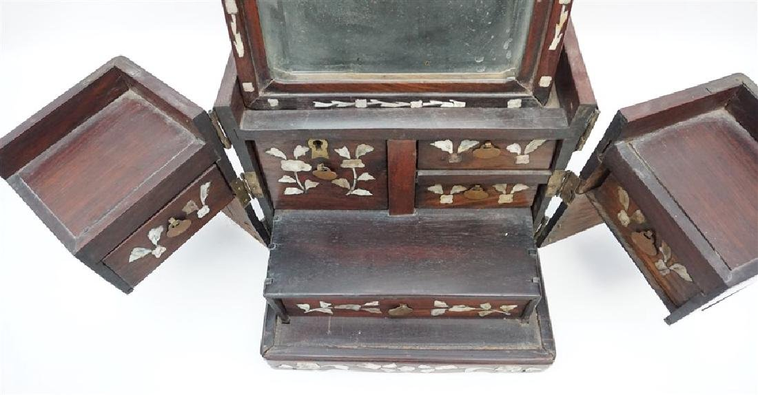 ANTIQUE CHINESE ROSEWOOD MIRROR BOX - 5