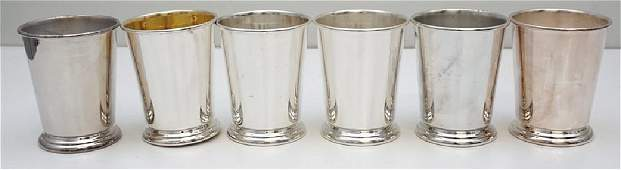 6 VINTAGE SHERIDAN SILVER PLATED MINT JULEP CUPS