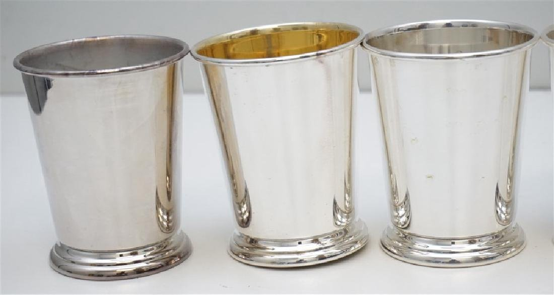 6 VINTAGE SHERIDAN SILVER PLATED MINT JULEP CUPS - 2