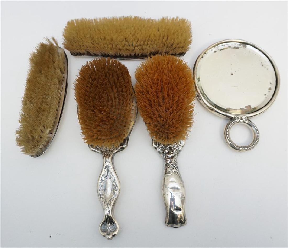 5 STERLING REPOUSSE BRUSHES & MIRROR - 6