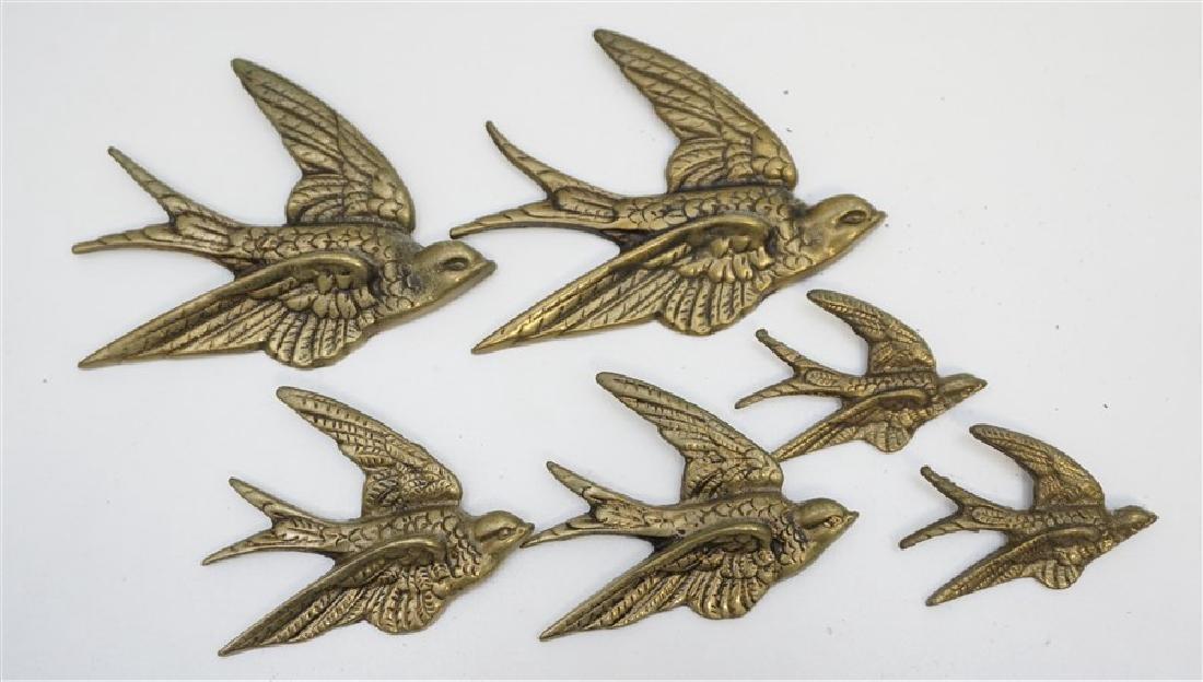 6 ENGLISH BRASS 1940's SWALLOWS WALL ART