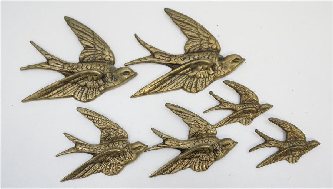 6 ENGLISH BRASS 1940's SWALLOWS WALL ART
