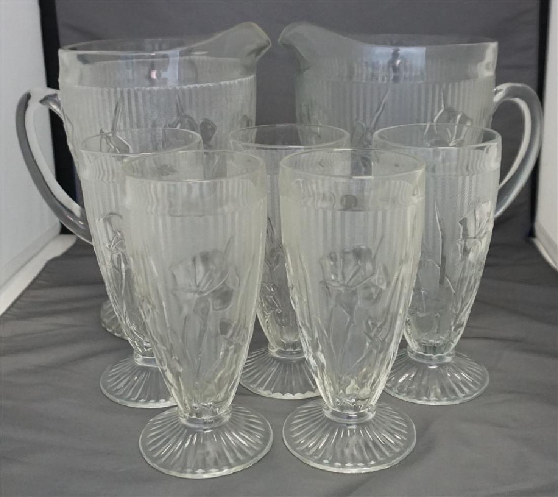 7 PC JEANETTE IRIS LEMONADE / ICE TEA SET 1930s