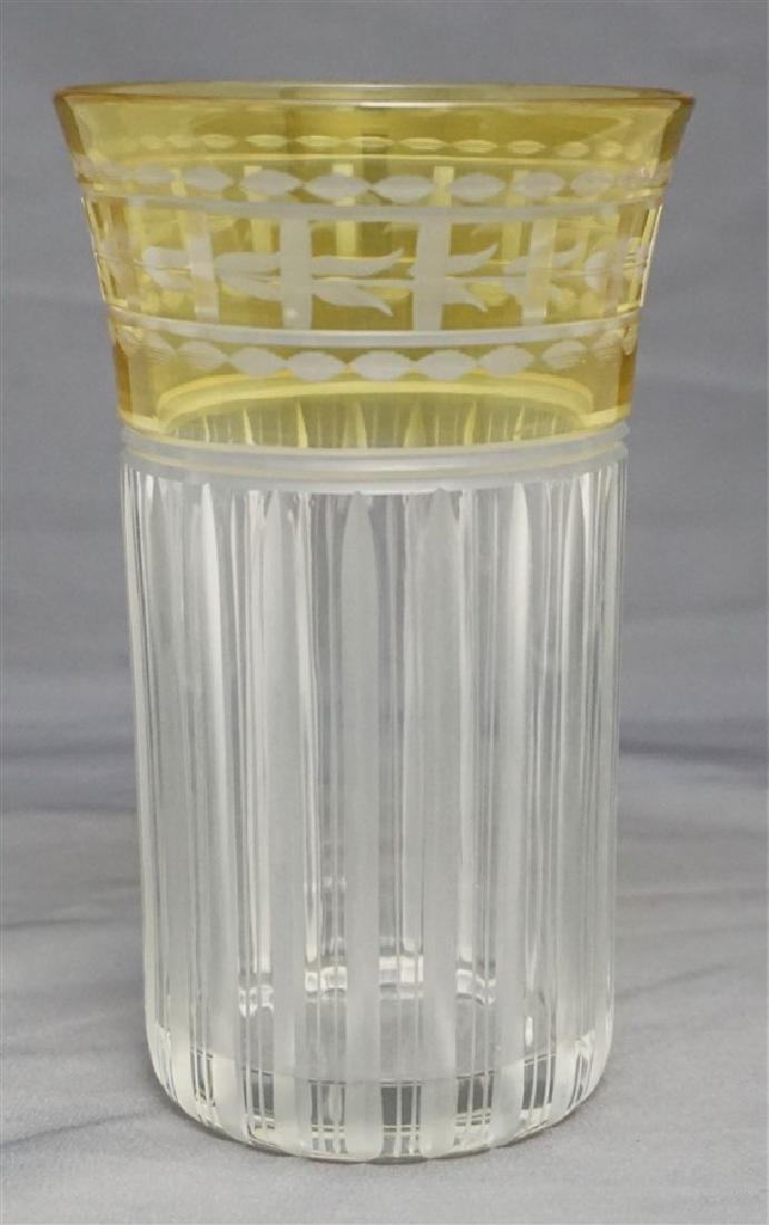 ETCHED CUT CRYSTAL YELLOW CUT TO CLEAR TUMBLER