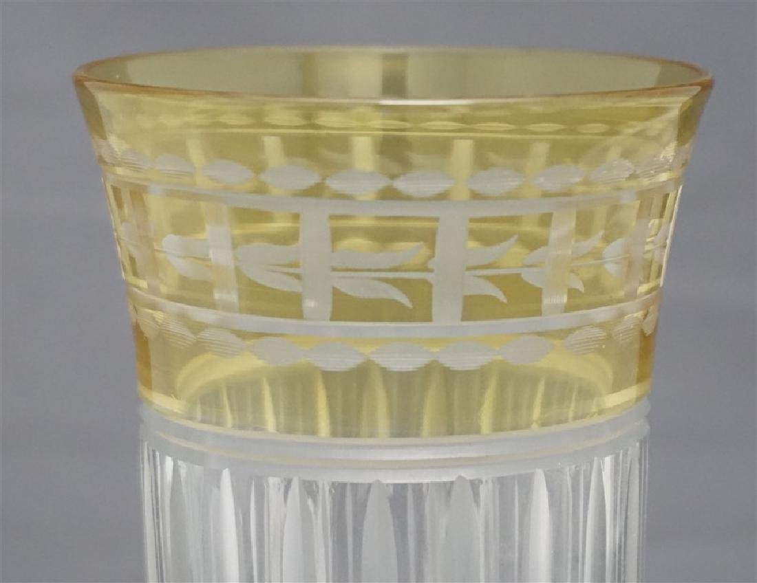 ETCHED CUT CRYSTAL YELLOW CUT TO CLEAR TUMBLER - 2