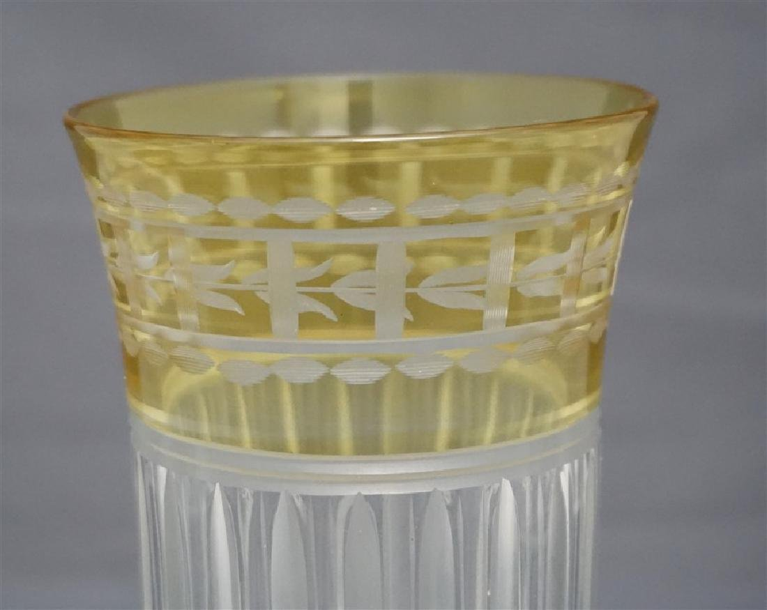 ETCHED CUT CRYSTAL YELLOW CUT TO CLEAR TUMBLER - 4