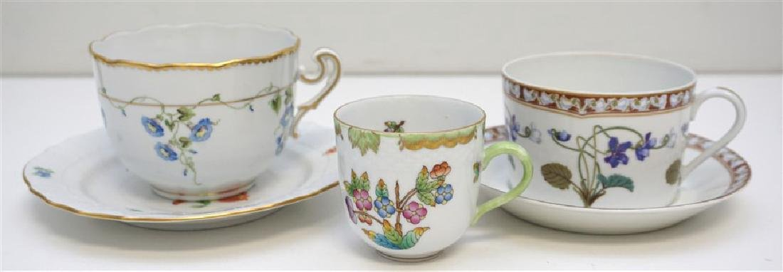 5 HEREND & HAVILAND PORCELAIN CUPS & SAUCERS