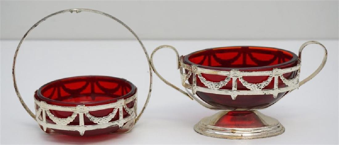2 pc CHROME AND RUBY GLASS SUGAR / MINT BOWLS
