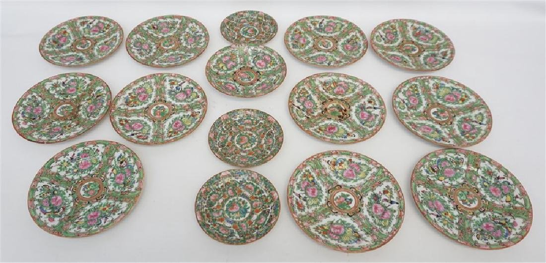 15 PC CHINESE EXPORT ROSE CANTON PLATES