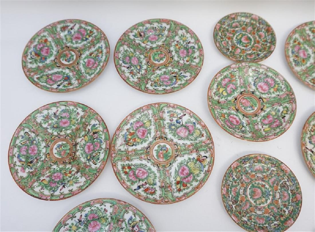 15 PC CHINESE EXPORT ROSE CANTON PLATES - 3