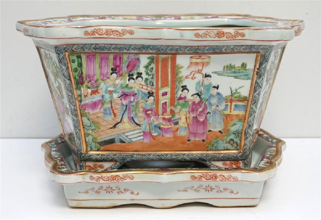 CHINESE PORCELAIN ROSE MEDALLION FOOT BATH