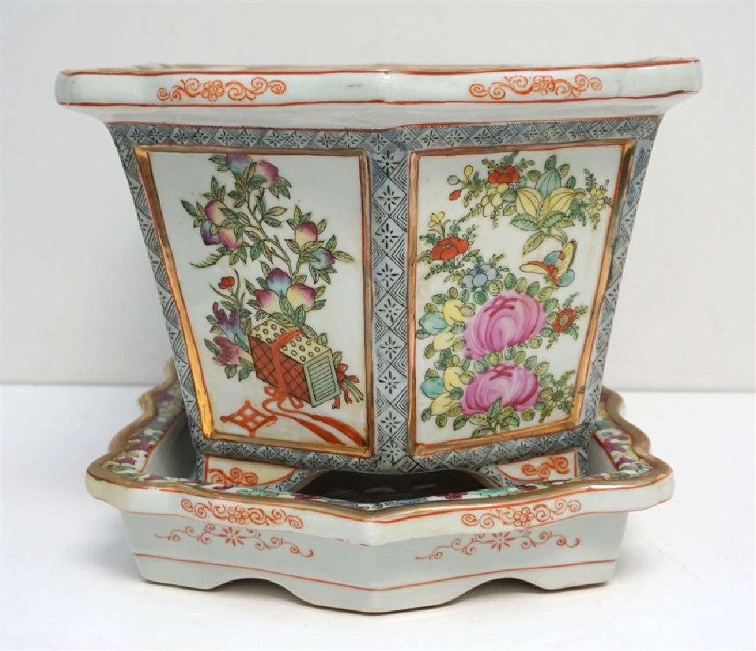 CHINESE PORCELAIN ROSE MEDALLION FOOT BATH - 2