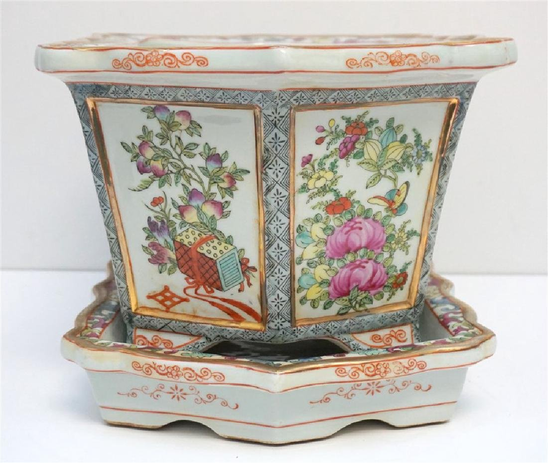 CHINESE PORCELAIN ROSE MEDALLION FOOT BATH - 5
