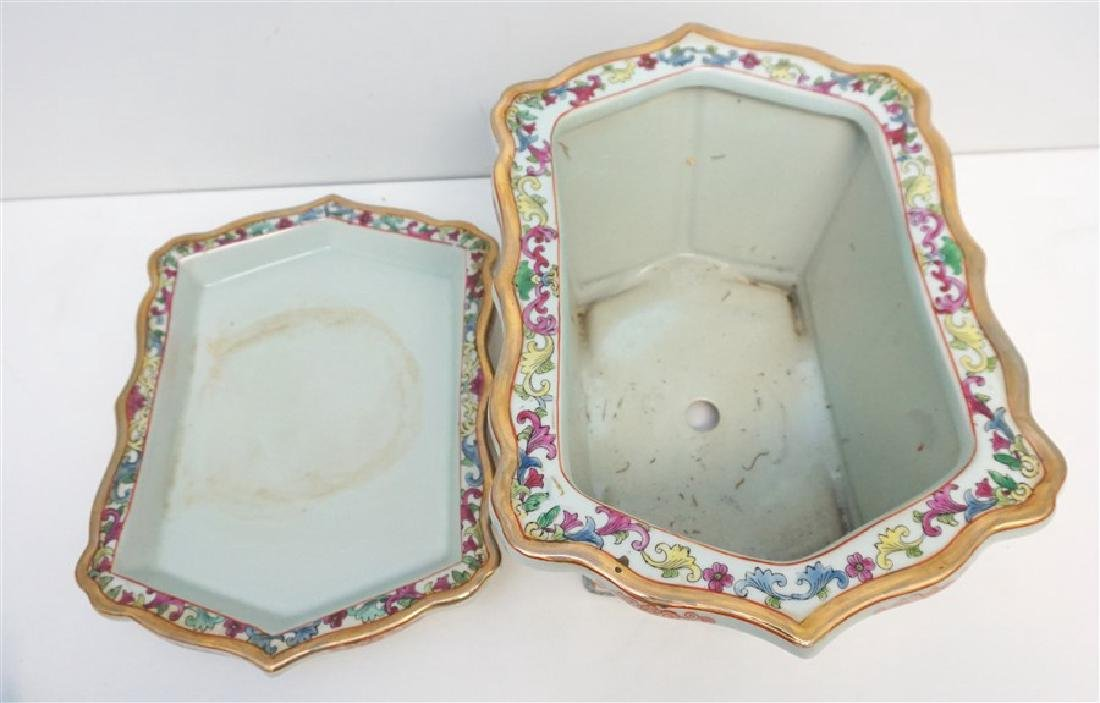 CHINESE PORCELAIN ROSE MEDALLION FOOT BATH - 6