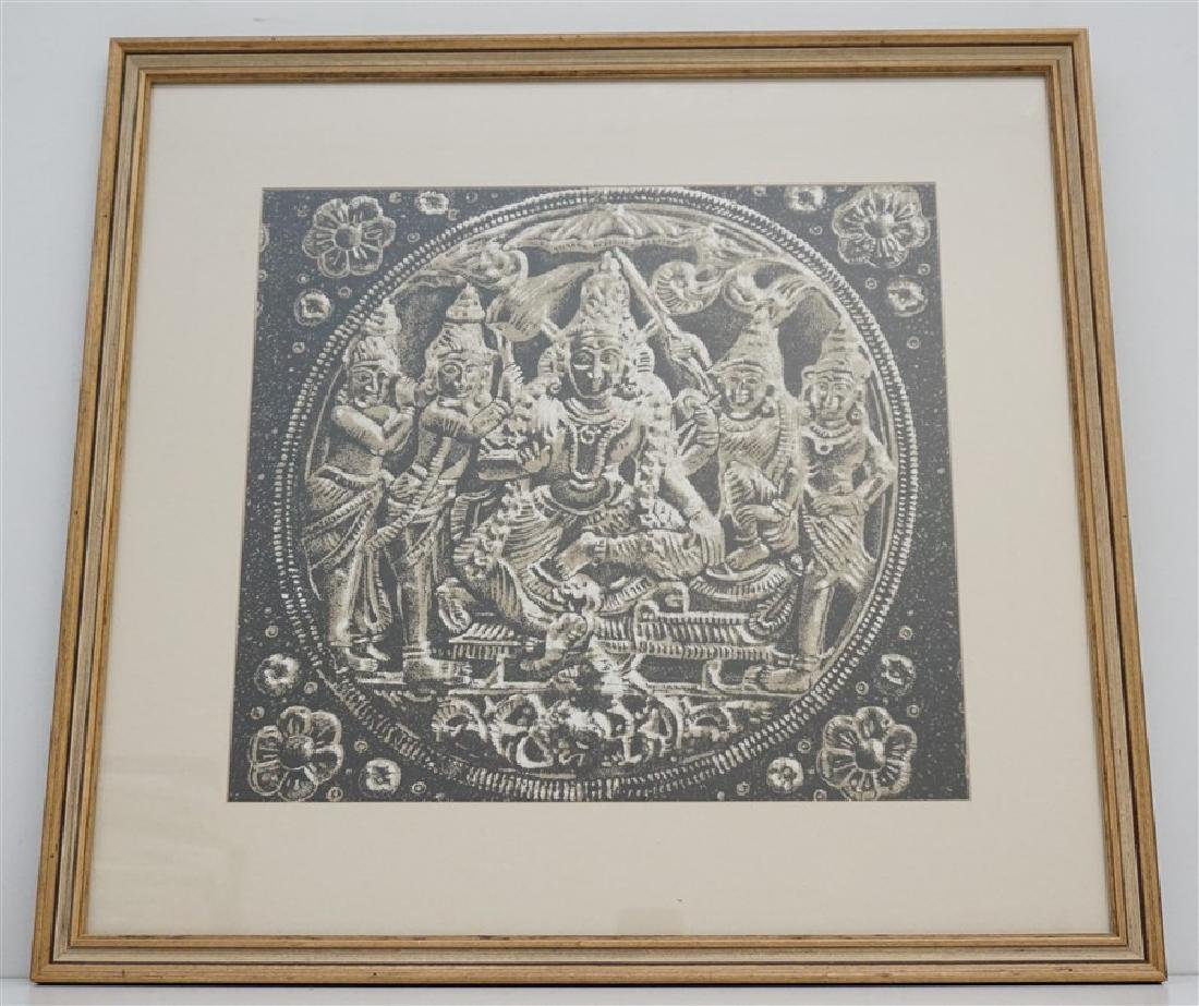FRAMED BUDDHA BLOCK PRINT FABRIC - INDIA