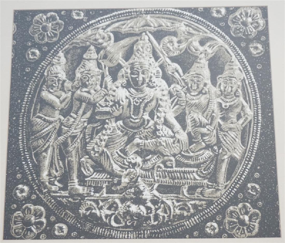 FRAMED BUDDHA BLOCK PRINT FABRIC - INDIA - 2