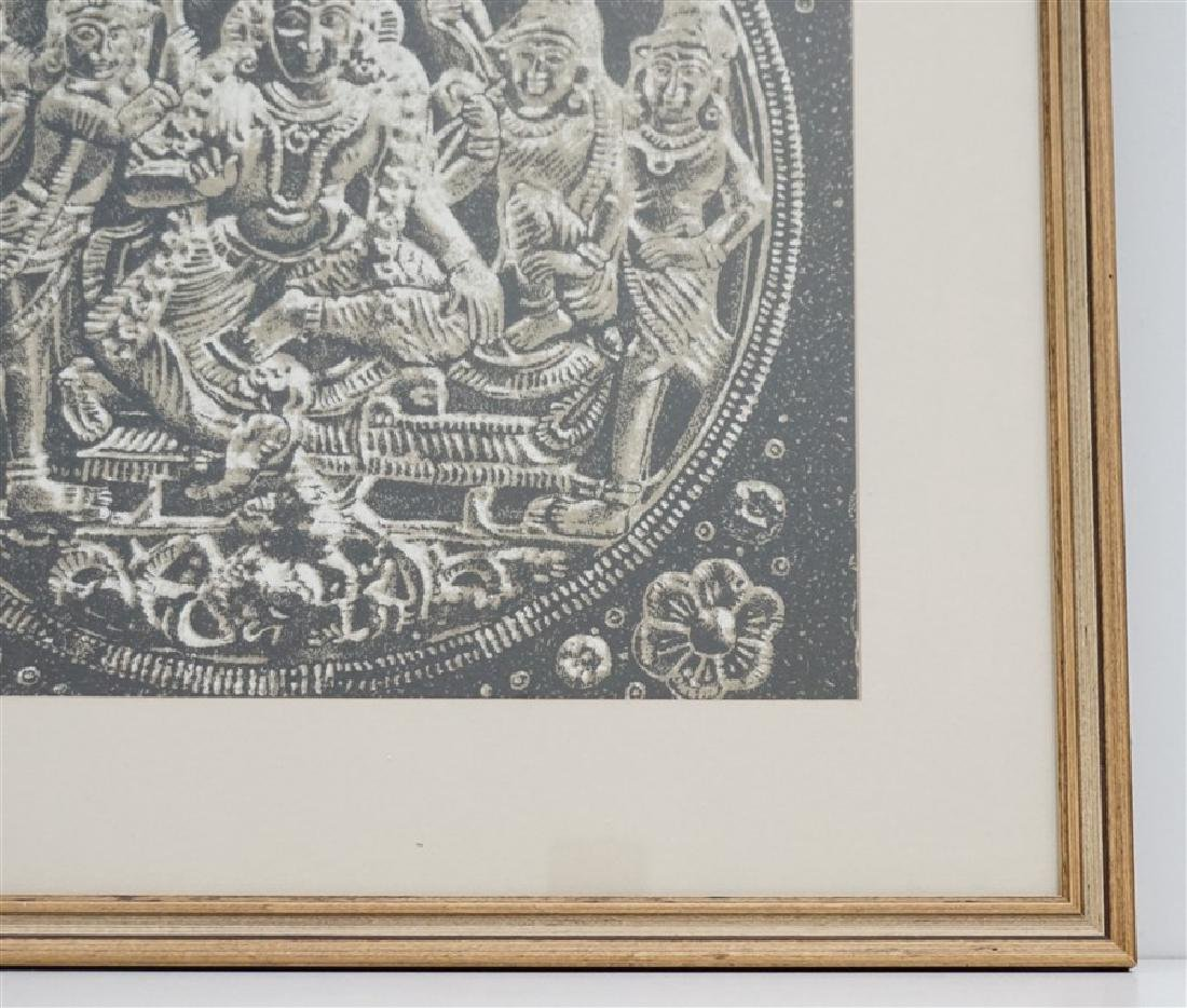FRAMED BUDDHA BLOCK PRINT FABRIC - INDIA - 3