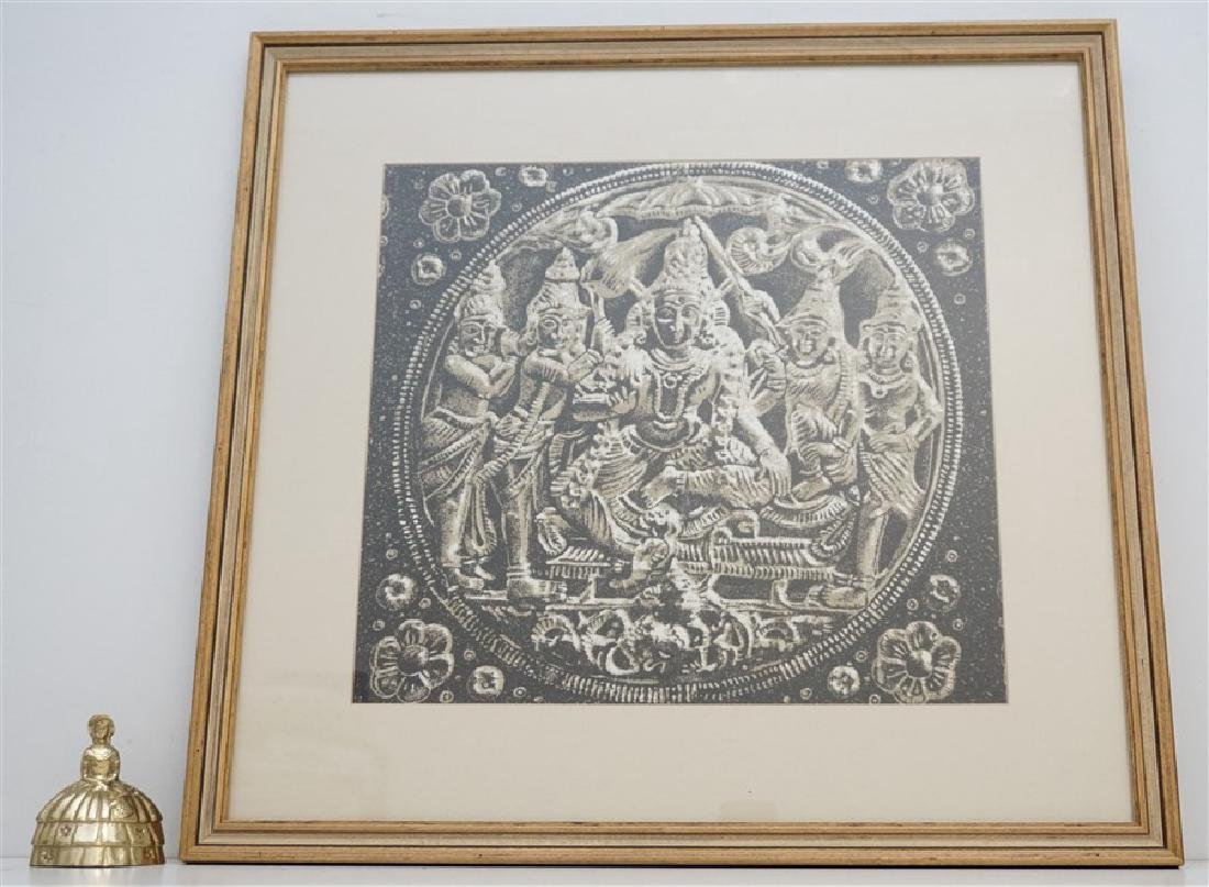 FRAMED BUDDHA BLOCK PRINT FABRIC - INDIA - 4