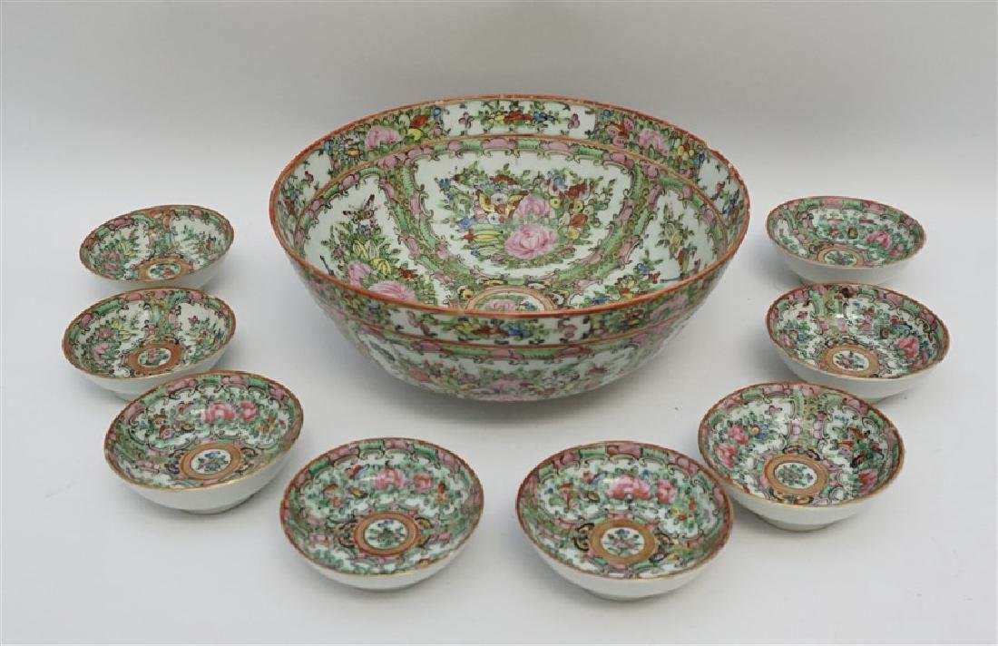 9 pc CHINESE EXPORT ROSE CANTON BOWL & SAUCE