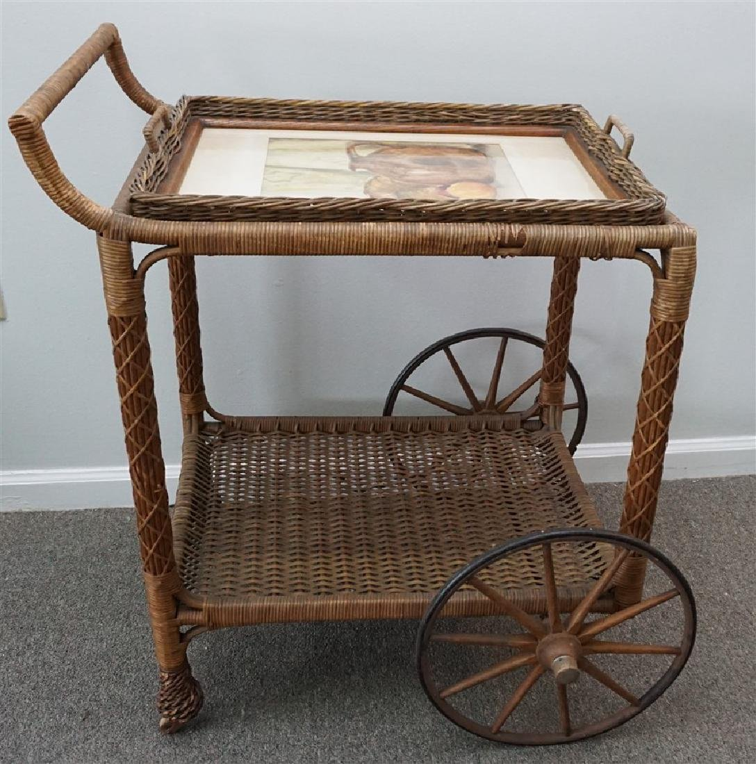 VINTAGE WICKER TEA CART WITH WATERCOLOR TRAY