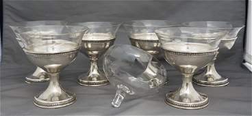 6 STERLING SILVER SHERBETS & ETCHED INSERTS