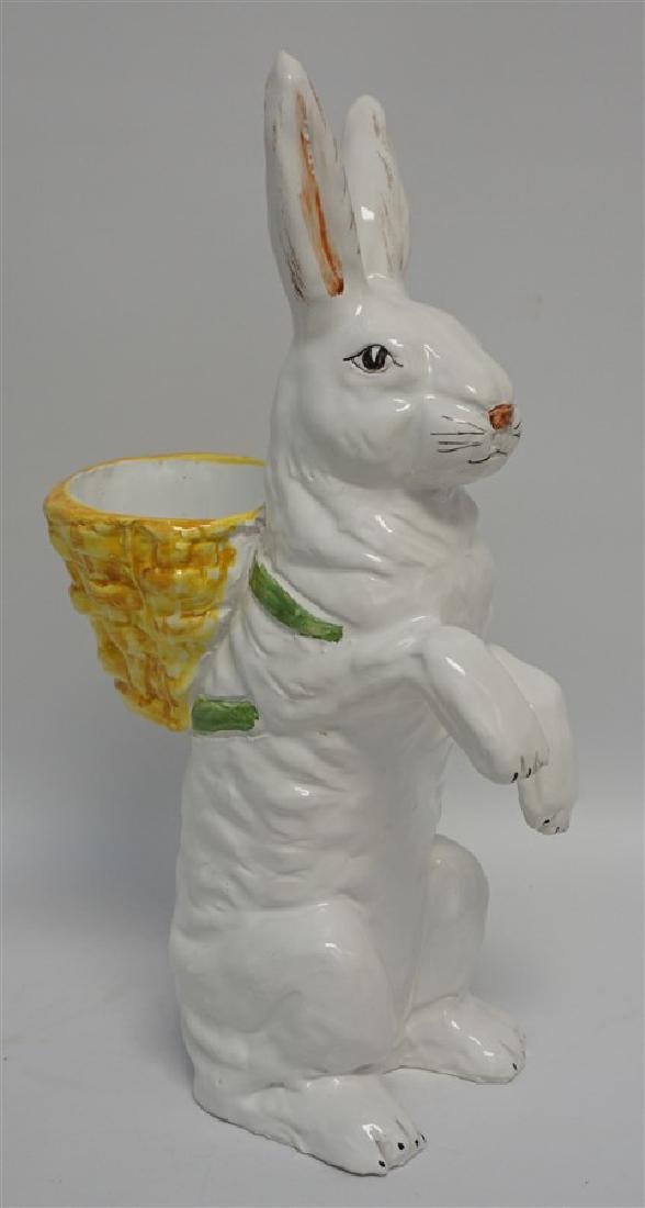VINTAGE MAJOLICA RABBIT POTTERY FIGURE