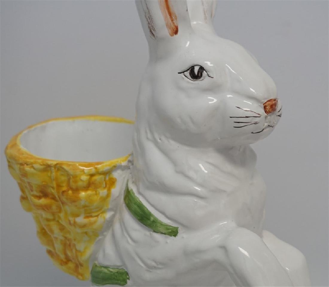 VINTAGE MAJOLICA RABBIT POTTERY FIGURE - 2