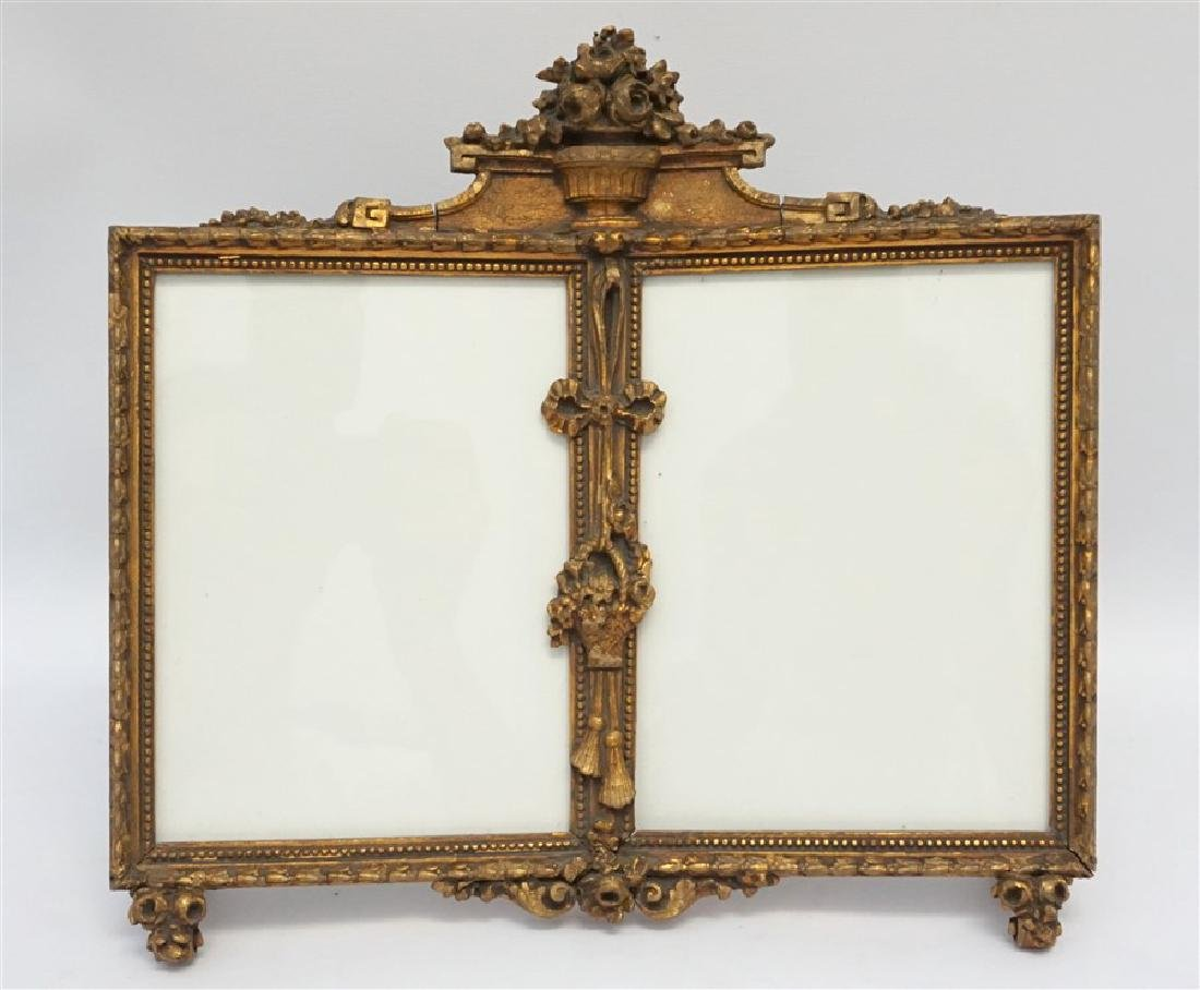 ORNATE ITALIAN GILT WOOD DOUBLE PHOTO FRAME