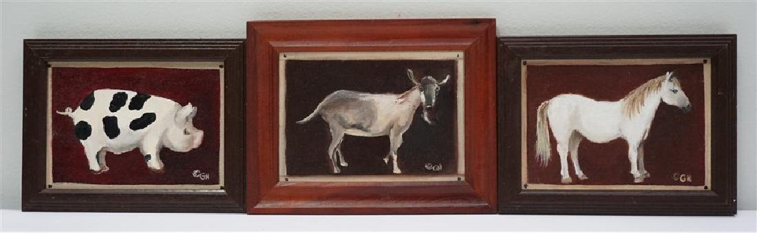 3 FOLK ART PAINTINGS FARM ANIMALS- GLORIA NELSON
