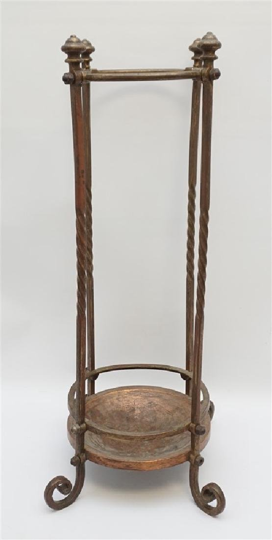 ANTIQUE BRASS & COPPER CANE / UMBRELLA STAND