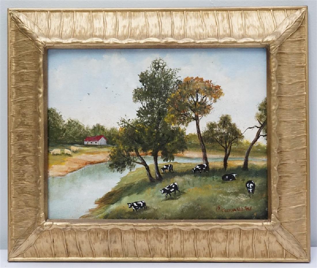 PRIMITIVE / FOLK ART GRAZING COWS - GLORIA NELSON