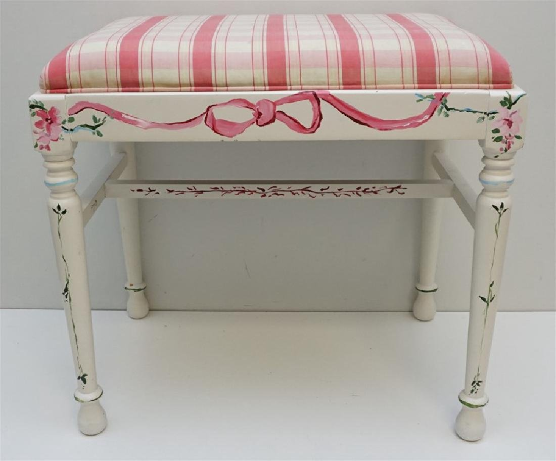 HAND PAINTED WHITE VANITY BENCH