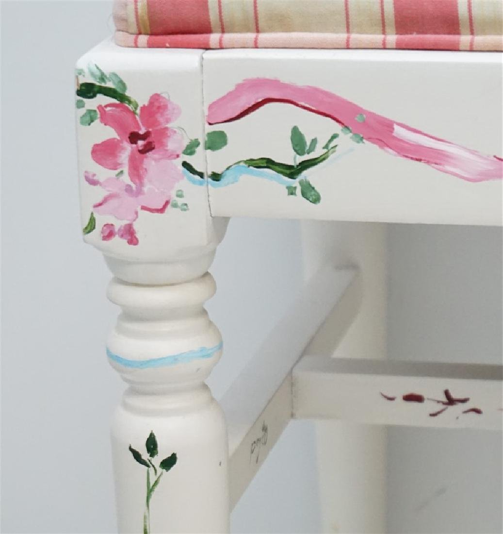 HAND PAINTED WHITE VANITY BENCH - 3
