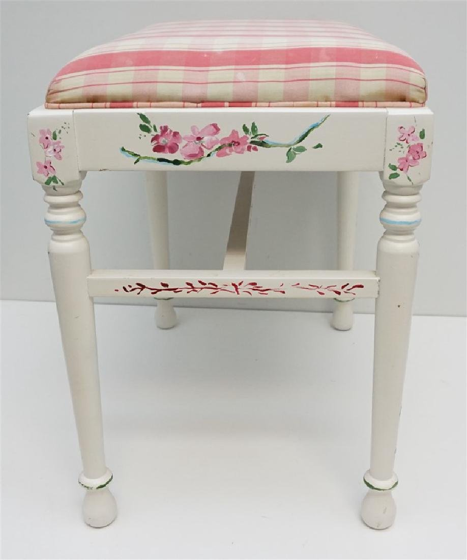 HAND PAINTED WHITE VANITY BENCH - 5