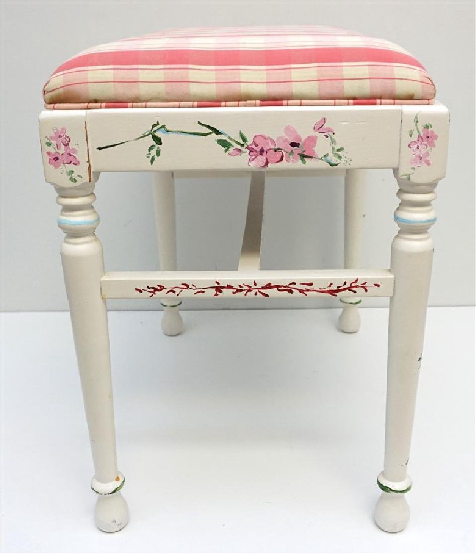 HAND PAINTED WHITE VANITY BENCH - 7