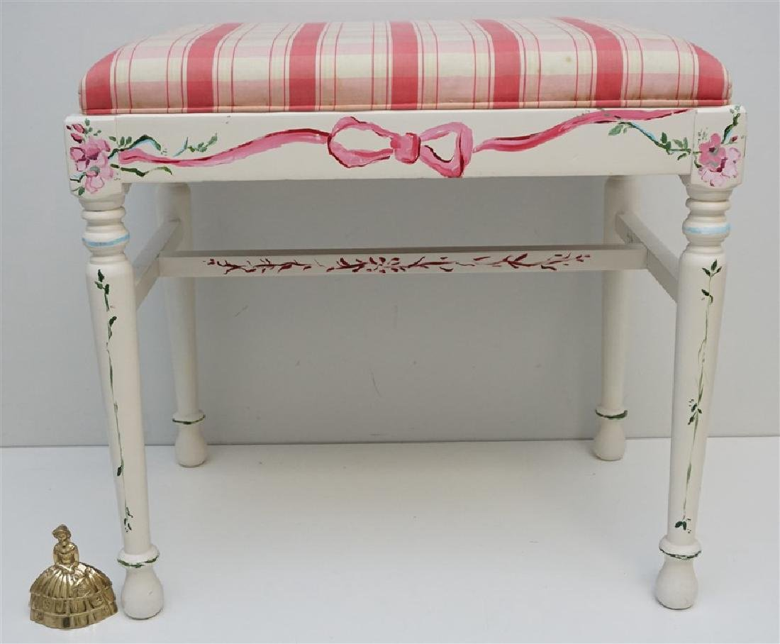 HAND PAINTED WHITE VANITY BENCH - 9