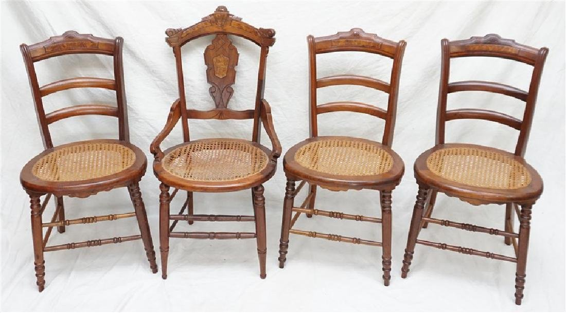 4 VICTORIAN CANED SEAT WALNUT CHAIRS