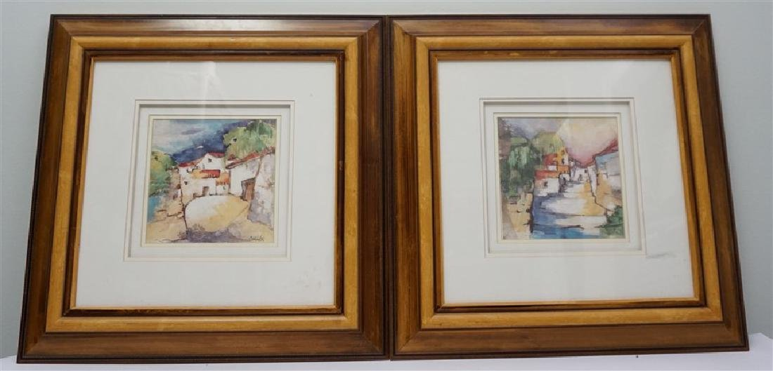 2 FRAMED MEDITERRANEAN VILLAGE PRINTS