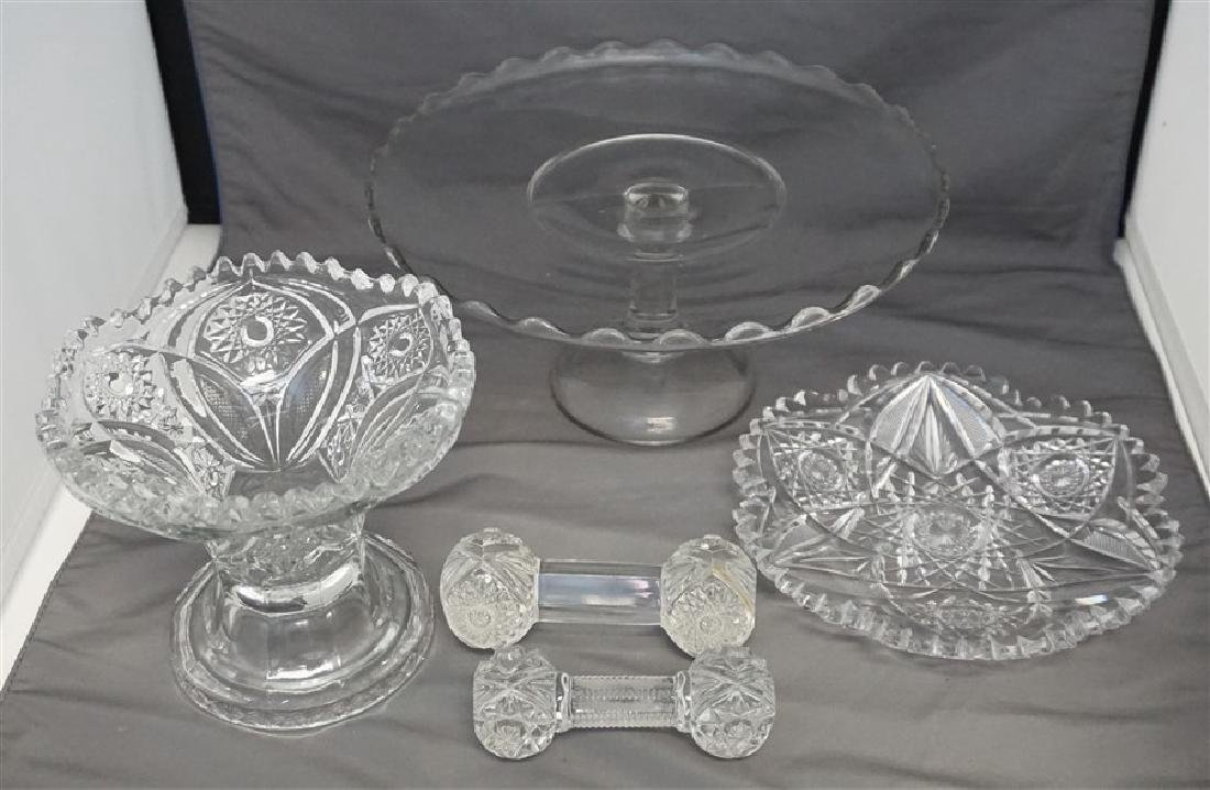 5 PC AMERICAN BRILLIANT AND VINTAGE GLASS