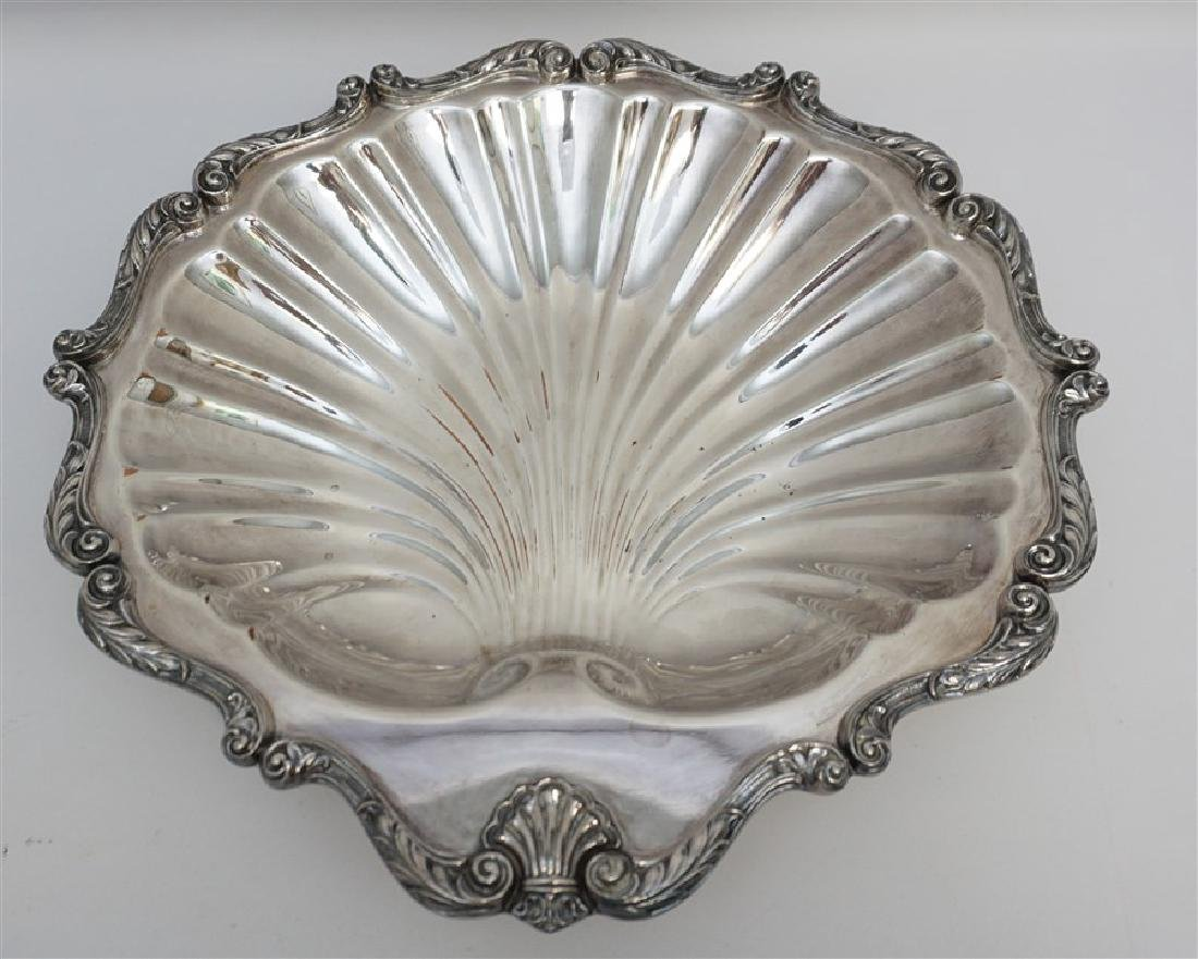 VINTAGE SILVER PLATE SHELL DISH PLATTER