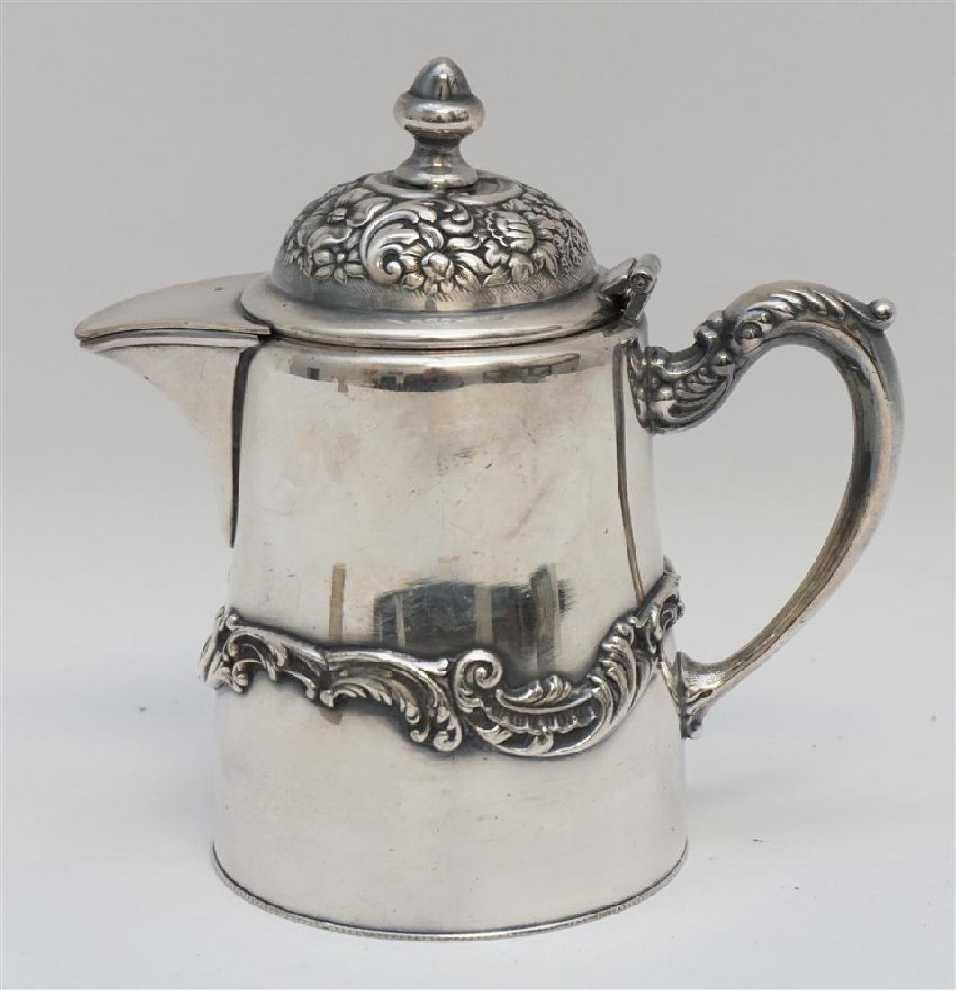 ORNATE SILVERPLATED SYRUP JUG E.G. WEBSTER