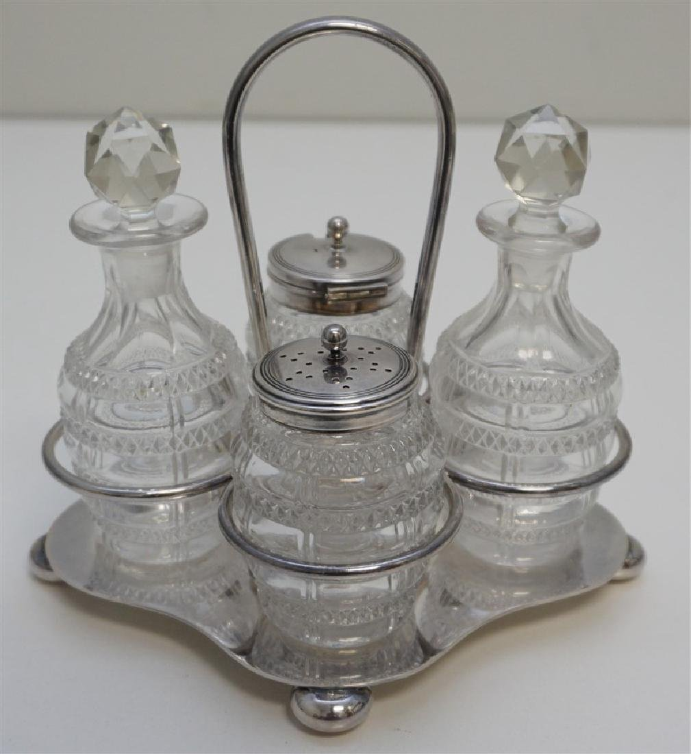 EDWARDIAN ENGLISH DANIEL & ARTER CRUET - CONDIMENT SET