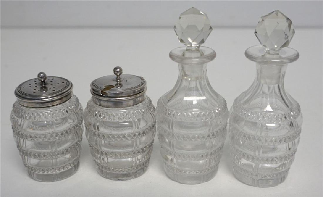 EDWARDIAN ENGLISH DANIEL & ARTER CRUET - CONDIMENT SET - 3