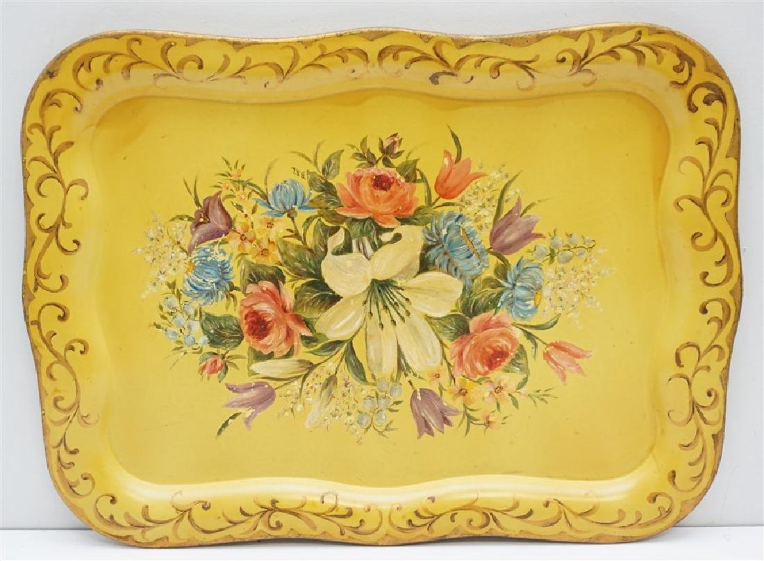 HAND PAINTED VINTAGE TOLE TRAY