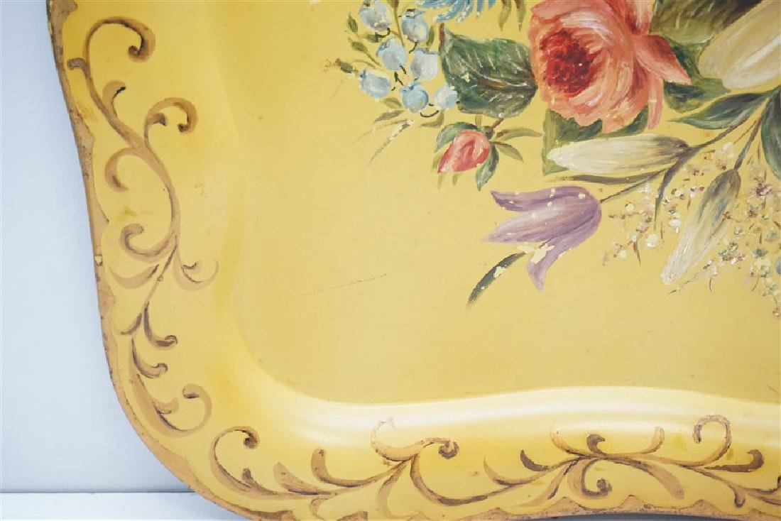 HAND PAINTED VINTAGE TOLE TRAY - 4