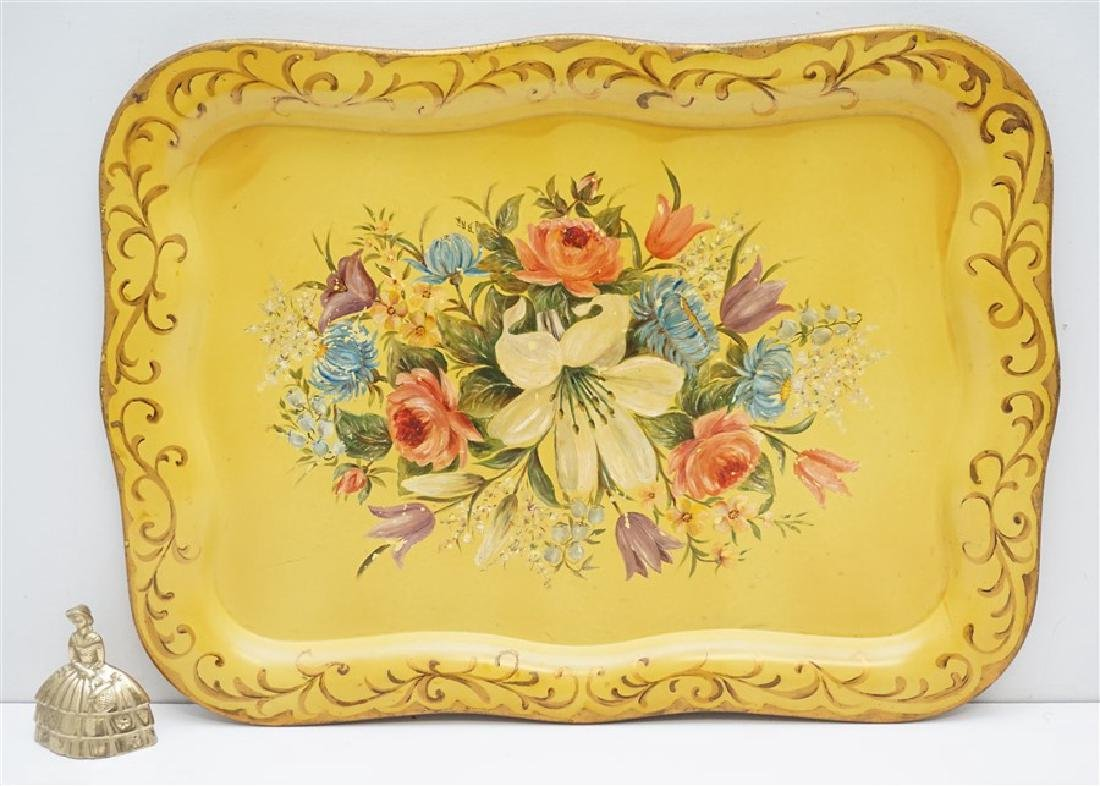 HAND PAINTED VINTAGE TOLE TRAY - 5