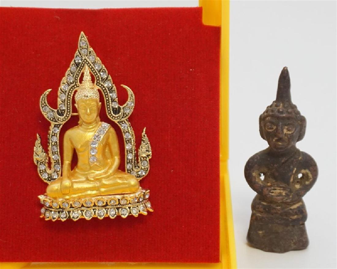 ANTIQUE BRONZE BUDDHA & PENDANT THAILAND